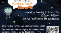 Our second annual pumpkin patch will be taking place on Sunday, October 24 from 11am to 4pmin the field behind the portables. We hope you will join us to choose […]